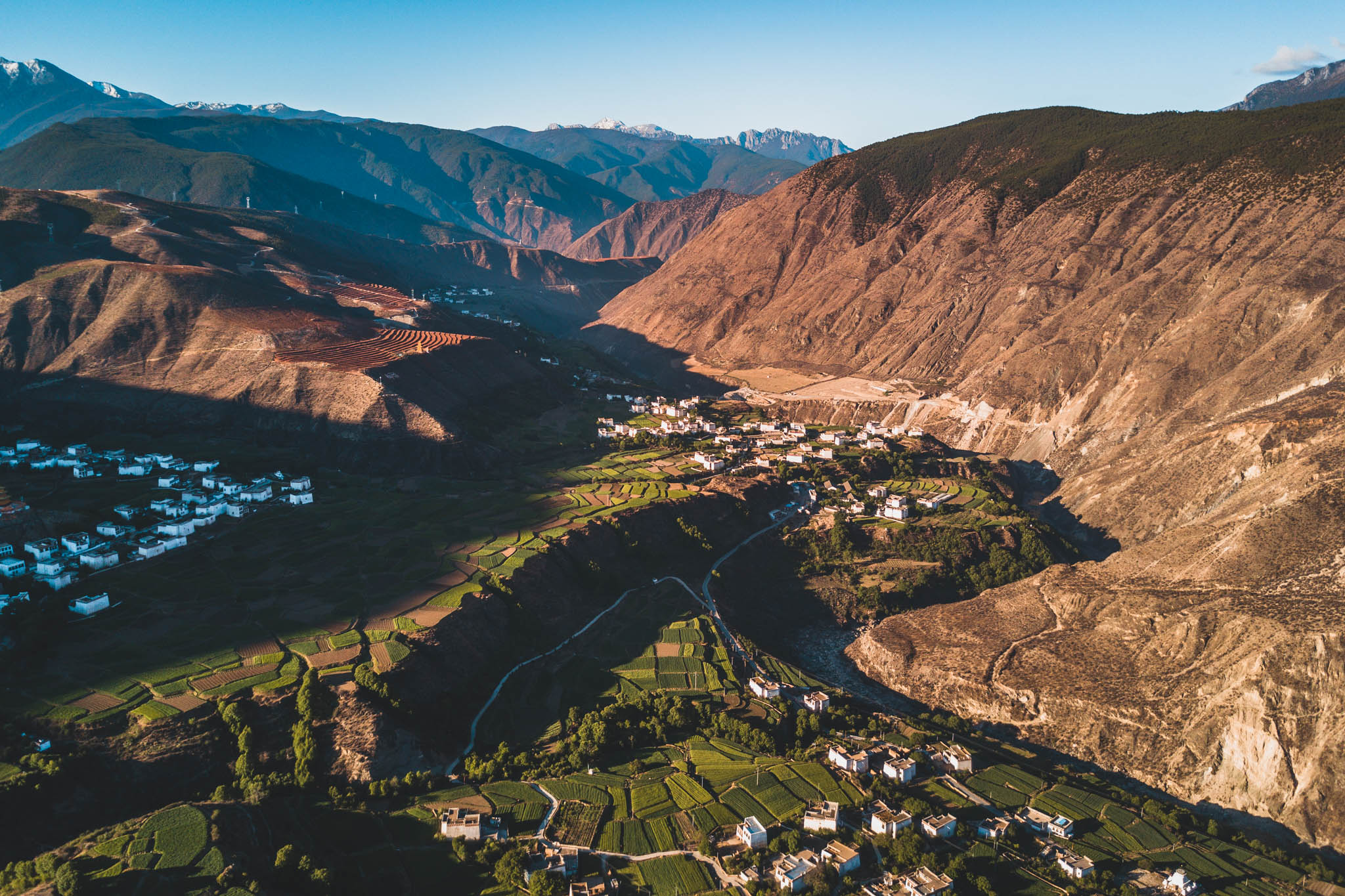 Drone shot of the surrounding mountains